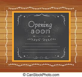 écrit, ouverture, tableau, bientôt