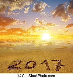 écrit, plage, 2017, sablonneux
