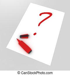écrit, question, rouges, highlighter, marque