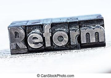 écrit, reform, dans, plomb, lettres
