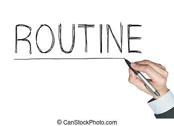 écrit, routine, main