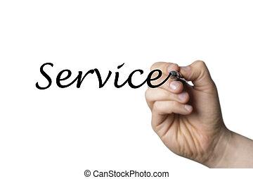 écrit, service, main