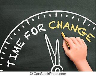 écrit, temps, changement, main