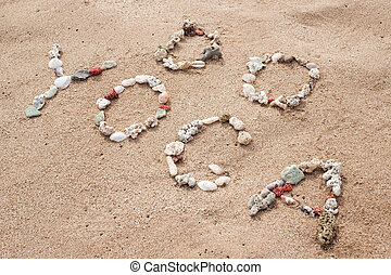 écriture, à, coquilles, texte, yoga, sur, plage