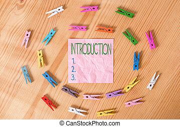 écriture, être, texte, papiers, projection, acte, processus, plancher, introduire, fond, photo, business, introduction., chiffonné, main colorée, bois, conceptuel, ou, état, :, clothespin., introduit