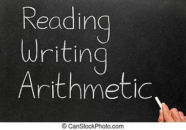 écriture, 3, lecture, arithmetic., r's