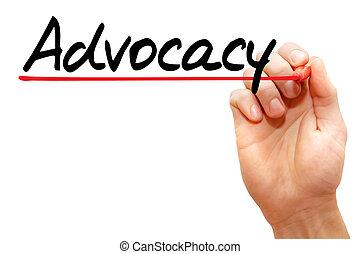 écriture, advocacy, business, main, concept