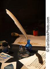 écriture, ancien, matériels