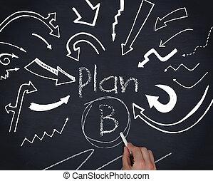 écriture, b, plan, main