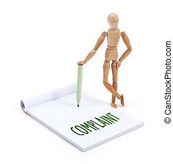 écriture, -, bois, mannequin, plainte