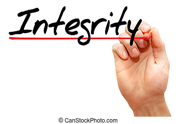 écriture, business, intégrité, main, concept