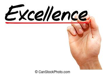 écriture, business, main, excellence, concept