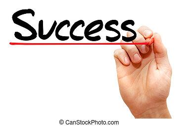 écriture, business, reussite, main, concept