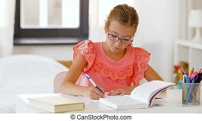 écriture, cahier, étudiant, maison, girl, livre