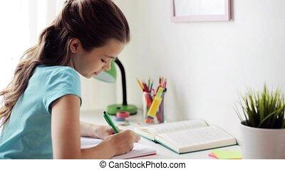 écriture, cahier, maison, girl, livre, heureux