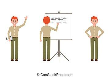 écriture, caractère, illustration., notes, garçon, confiant...