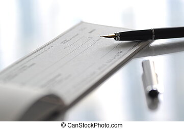 écriture, chèque, préparer