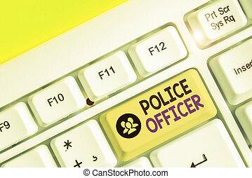 écriture, concept, application, officier, texte, signification, team., police, écriture, droit & loi, démontrer, officer.