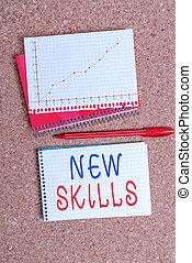 écriture, concept, bureau, chart., skills., competences, ...
