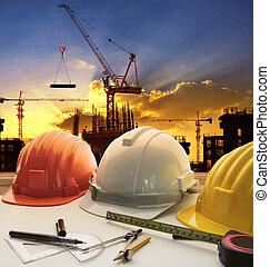 écriture, contre, fonctionnement, outil bâtiment, construction, soir, sombre, modèle, ciel, table, ingénieur, équipement, grue, plan, maison