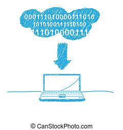 écriture, croquis, nuage, calculer