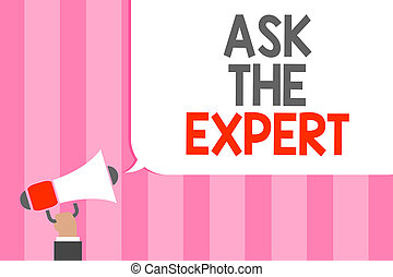 écriture, demande, demander, projection, tenue, photo, expert., conseil, aide, porte voix, showcasing, business, haut-parleur, message, soutien, loud., main, homme, bulle, conceptuel, professionnel, regarder, parole
