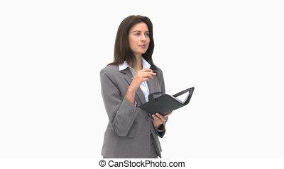 écriture, elle, ordre du jour, femme affaires