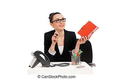 écriture, femme affaires, chaise, séance, bureau, cahier