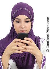 écriture femme, arabe, téléphone, intoxiqué, message, intelligent