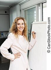 écriture, femme, diagramme, business, chiquenaude