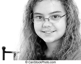 écriture, fille noire, année, 12, beau, vieux, blanc