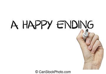 écriture, fin, main, heureux