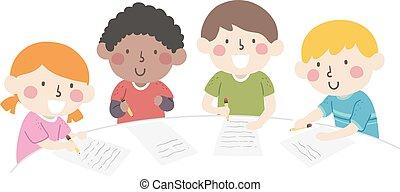écriture, illustration, groupe, gosses, table