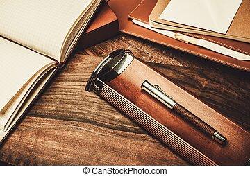 écriture, luxueux, bois, outils, table
