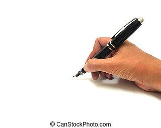 écriture main, à, stylo