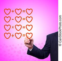 écriture main, coeur, mathématique, amour, équation