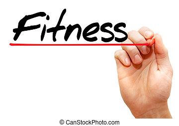 écriture main, fitness, concept