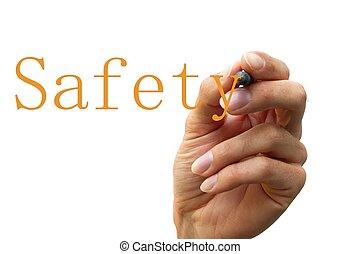 écriture main, les, mot, sécurité