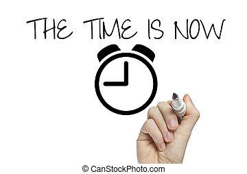 écriture main, les, temps, est, maintenant