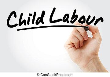 écriture main, marqueur, travail, enfant