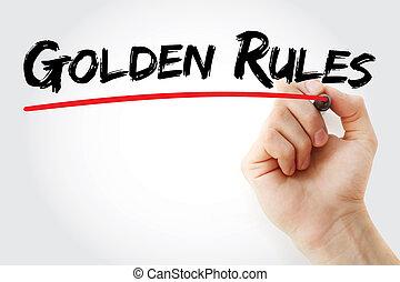 écriture, marqueur, main, doré, règles
