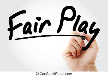 écriture, marqueur, main, fair-play