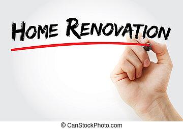 écriture, marqueur, maison, main, rénovation