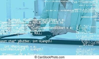 écriture, morceau, femme, traitement, sur, utilisation, données, calculatrice, papier