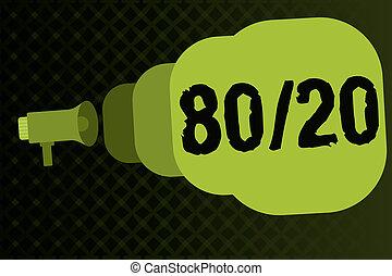 écriture, note, projection, 80, 20., business, photo, showcasing, pareto, principe, de, factor, sparsity, statistique, distribution, de, données