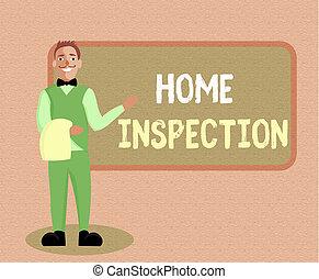 écriture, note, projection, maison, inspection., business, photo, showcasing, examen, de, les, condition, de, a, maison, apparenté, propriété