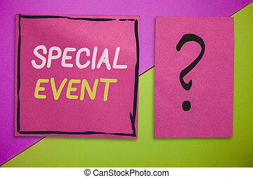 écriture, note, projection, spécial, event., business, photo, showcasing, fonction, à, engendrer, argent, pour, non, profit, a, bondé, occassion