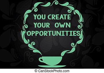 écriture, note, projection, vous, créer, ton, propre, opportunities., business, photo, showcasing, être, les, créateur, de, ton, destin, et, chances, tasse soucoupe, à, conception paisley, sur, vide, watermarked, space.