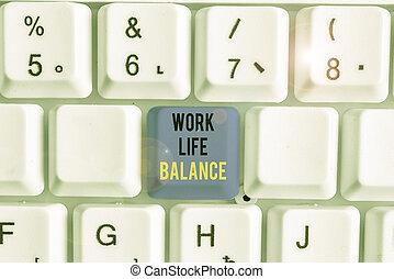 écriture, ou, balance., texte, division, famille, écriture, temps, travail, signification, entre, vie active, concept, leisure.