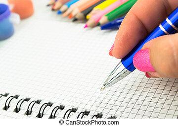 écriture, papier, stylo, essai